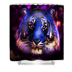 Shower Curtain featuring the photograph Blue Tiger Of The Purple Forest by George Pedro
