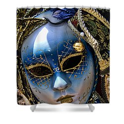 Blue Venetian Mask Shower Curtain by David Smith