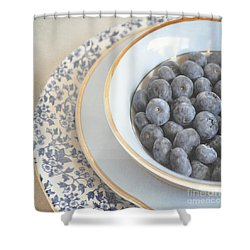 Blueberries In Blue And White China Bowl Shower Curtain by Lyn Randle
