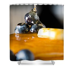 Blueberry Butter Pancake With Honey Maple Sirup Flowing Down Shower Curtain by Ulrich Schade