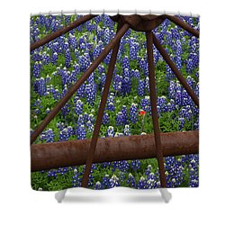 Bluebonnets And Rusted Iron Wheel Shower Curtain