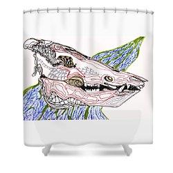 Boar Skull Ink Shower Curtain