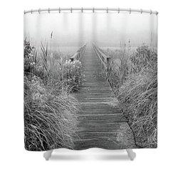 Boardwalk In Quogue Wildlife Preserve Shower Curtain by Rick Berk