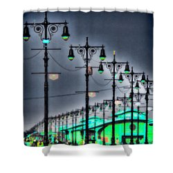 Shower Curtain featuring the photograph Boardwalk Lights by Chris Lord