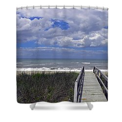 Boardwalk To The Beach Shower Curtain by Sandi OReilly