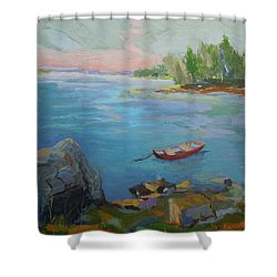 Shower Curtain featuring the painting Boat And Bay by Francine Frank