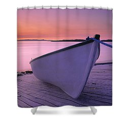 Boat At Dawn, Harrington Harbour, Lower Shower Curtain by Yves Marcoux