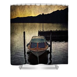 Boat During Sunset Shower Curtain by Joana Kruse