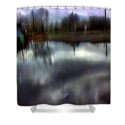 Shower Curtain featuring the mixed media Boat House I by Terence Morrissey