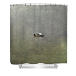 Boat In The Snow Shower Curtain by Joana Kruse
