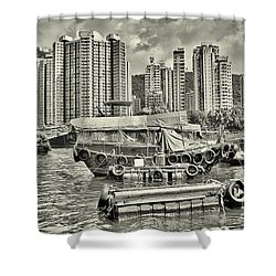 Boat Life In Hong Kong Shower Curtain
