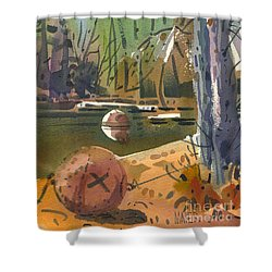 Shower Curtain featuring the painting Boat Moorings by Donald Maier