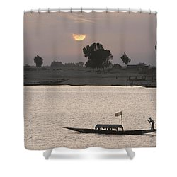Boat On The Niger River In Mopti, Mali Shower Curtain by Peter Langer