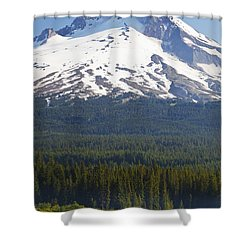 Boating In Trillium Lake With Mount Shower Curtain by Craig Tuttle