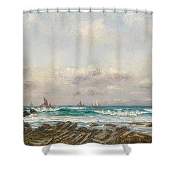 Boats At Sea Shower Curtain by William Lionel Wyllie