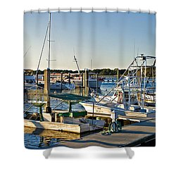 Shower Curtain featuring the photograph Boats At The Wharf  by Susan Leggett