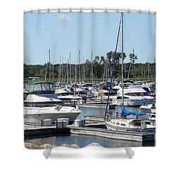 Shower Curtain featuring the photograph Boats At Winthrop Harbor by Debbie Hart