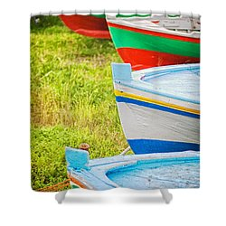 Boats In A Row II Shower Curtain by Silvia Ganora