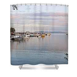 Boats In The Harbour At Sunset Thunder Shower Curtain by Susan Dykstra
