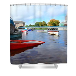 Shower Curtain featuring the photograph Boats On The Garavogue by Charlie and Norma Brock