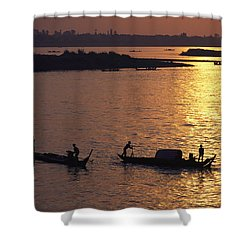 Boats Silhouetted On The Mekong River Shower Curtain by Steve Raymer