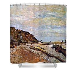 Boatyard Near Honfleur Shower Curtain by Claude Monet