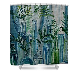 Shower Curtain featuring the painting Bottle Brigade by Julie Brugh Riffey