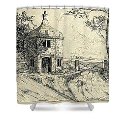 Bottle Lodge Pen Sketch 1932 Shower Curtain by John Chatterley