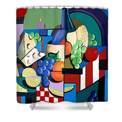 Bottle Of Wine Fruit Of The Vine Shower Curtain by Anthony Falbo