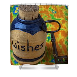 Bottle Of Wishes Shower Curtain by Garry Gay