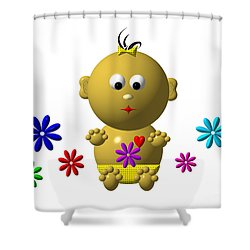 Bouncing Baby Girl With 7 Flowers Shower Curtain by Rose Santuci-Sofranko