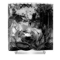 Bouquet And Beads Bw Shower Curtain by DigiArt Diaries by Vicky B Fuller