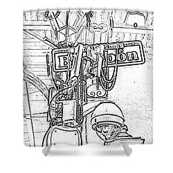 Bourbon Street Sign And Lamp Covered In Beads Black And White Photocopy Digital Art Shower Curtain by Shawn O'Brien
