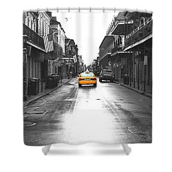Bourbon Street Taxi French Quarter New Orleans Color Splash Black And White Film Grain Digital Art Shower Curtain