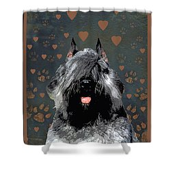 Bouvier Des Flandres Shower Curtain by One Rude Dawg Orcutt
