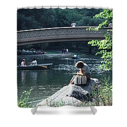 Bow Bridge In Central Park Nyc Shower Curtain by Tom Wurl