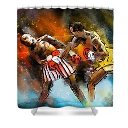Boxing 01 Shower Curtain by Miki De Goodaboom