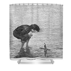 Boy And Toy Boat Shower Curtain by Granger