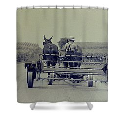Shower Curtain featuring the photograph Boy Heads To Work by Mike Martin