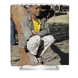 Boy In Zen Thought Shower Curtain