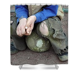 Boy Sitting On Ball - Torn Trousers Shower Curtain by Matthias Hauser