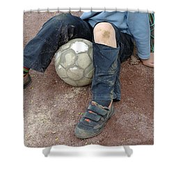 Boy With Soccer Ball Sitting On Dirty Field Shower Curtain by Matthias Hauser