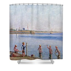 Boys At Waters Edge Shower Curtain