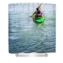 Boys Rowing Shower Curtain by Carlos Caetano