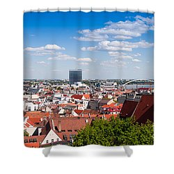 Shower Curtain featuring the photograph Bratislava Roofs by Les Palenik