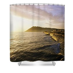 Bray Promenade, Co Wicklow, Ireland Shower Curtain by The Irish Image Collection