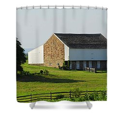 Shower Curtain featuring the photograph Brian Barn At Gettysburg by Cindy Manero