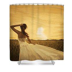 Bride In Yellow Field On Sunset  Shower Curtain by Setsiri Silapasuwanchai