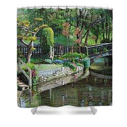 Bridge And Garden - Bakewell - Derbyshire Shower Curtain by Trevor Neal