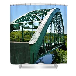 Shower Curtain featuring the photograph Bridge Spanning Connecticut River by Sherman Perry
